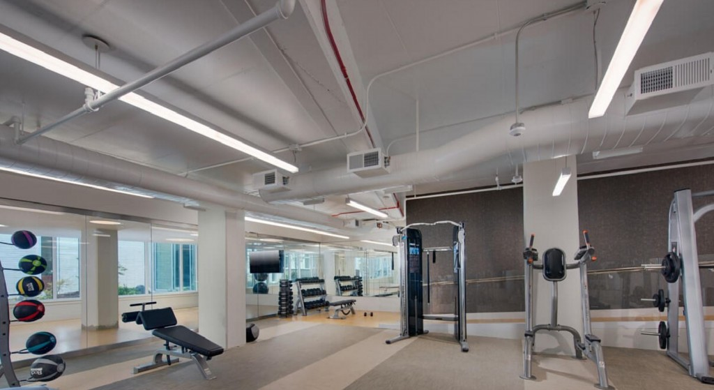 on-site fitness center with a variety of equipment available.